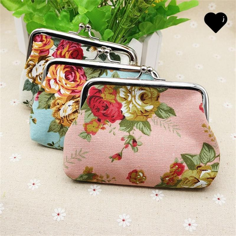 Fashion Hot Vintage flower coin purse canvas key holder wallet hasp small gifts bag clutch handbag 104 N2