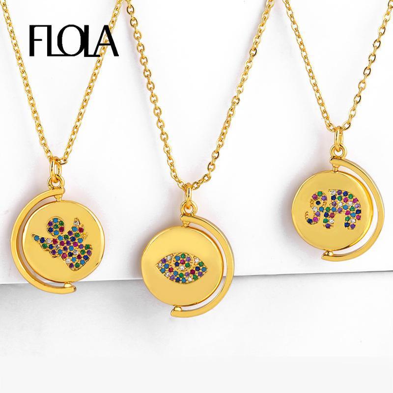 FLOLA خمر كوين قلادة الذهب امرأة CZ عين الشر الفيل زاوية القديمة كوين قلادة قلادة الشكل قوس قزح مجوهرات nkep54