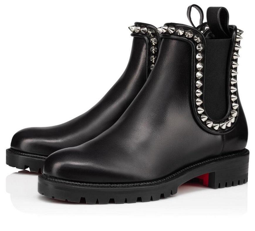 Marcas elegantes CAPAHUTTA Spikes Sapatos de fundo vermelho para as mulheres Lug Sole Botas de tornozelo sexy idosas Toe Toe Senhora Booty Vestido Booties com caixa