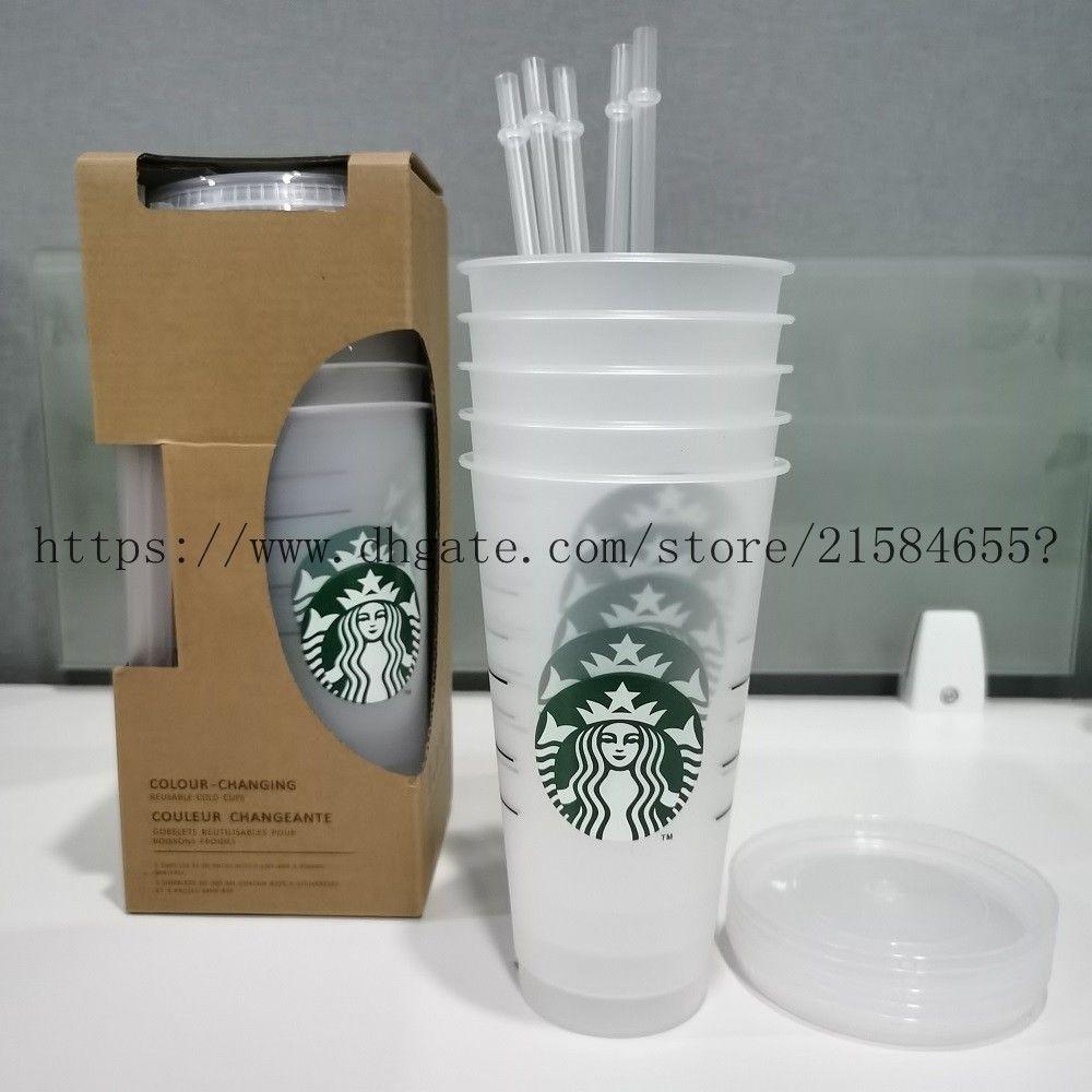 5 шт. 24oz Tumblers Plastic Plastic Plasting Cup с губной и соломой Волшебная кофе кружка Cokom Starbucks Пластиковая прозрачная чашка