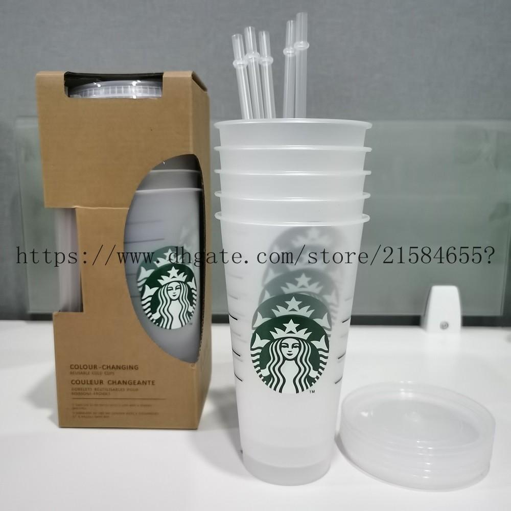 Starbucks Lip Tumblers Plastique avec Costom Cup Transparent Boire et Paille Magic Magic Tasse de café Jus 5pcs Plastique Coupe 24oz NSSFW
