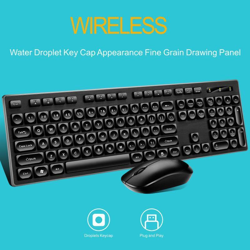 Clavier 104 Keycaps ergonomique Souris 1600dpi pour PC Clavier sans fil et souris Pour Dropshipping