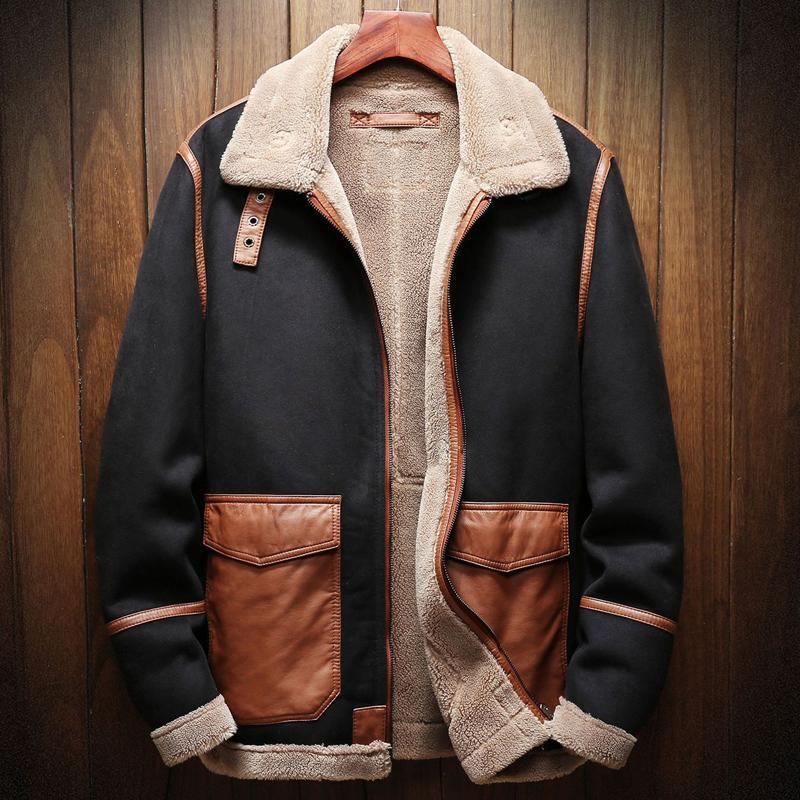 Мужская меховая искусственная осень и зимний сезон мужской кожаной куртки пальто плюс размер 5xL автомобильные пальто бархата A173