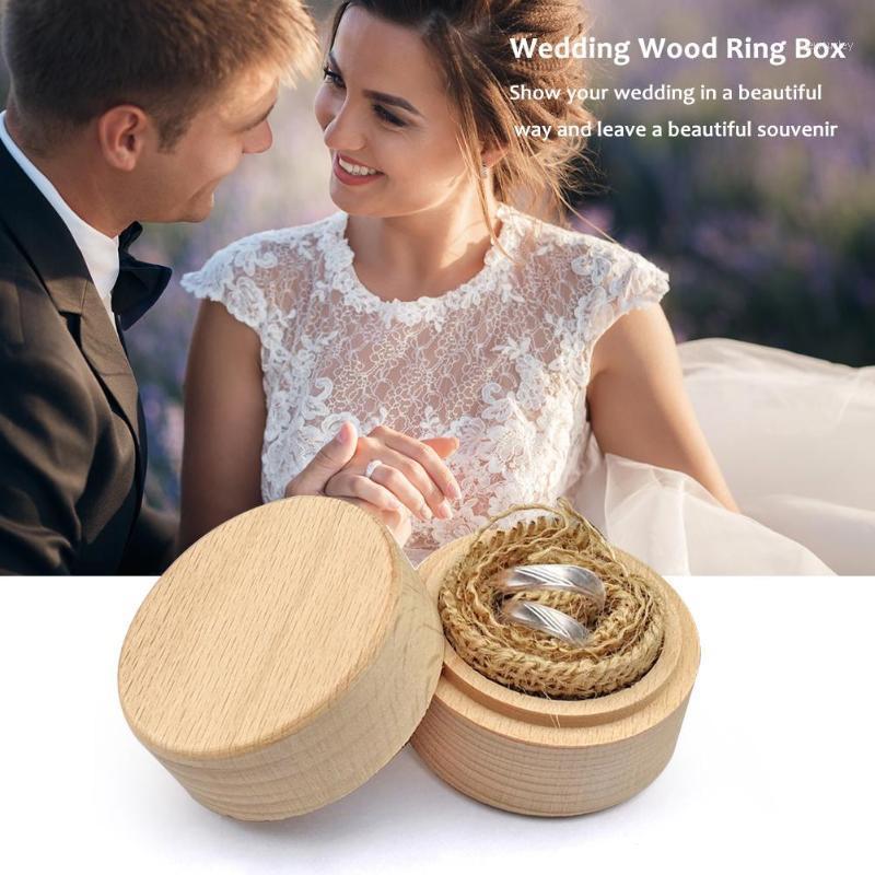 Круглые деревянные обручальные кольцевые коробки украшений Дисплей для хранения корпуса для обручального кольца Beech Box белье 20 см * 9 см в Size1