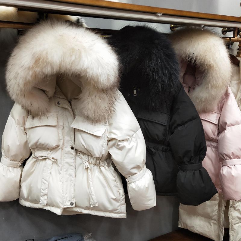 Deat Kış Raccon Kürk Hoody Krem Bej Beyaz Ördek Aşağı Ceket Kadın Ceket MG926 201102