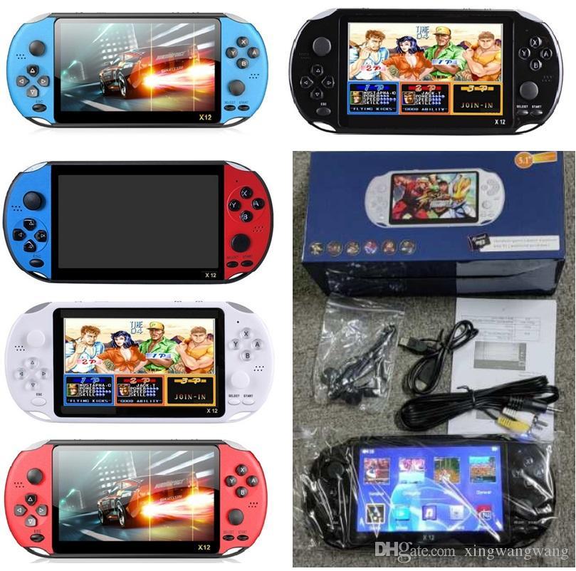 """X12 محمول لاعب لعبة 8GB الذاكرة المحمولة الفيديو أنظمة تشغيل مع 5.1 """"شاشة ملونة دعم TF بطاقة 32GB MP3 MP4 اللاعبين بالجملة"""