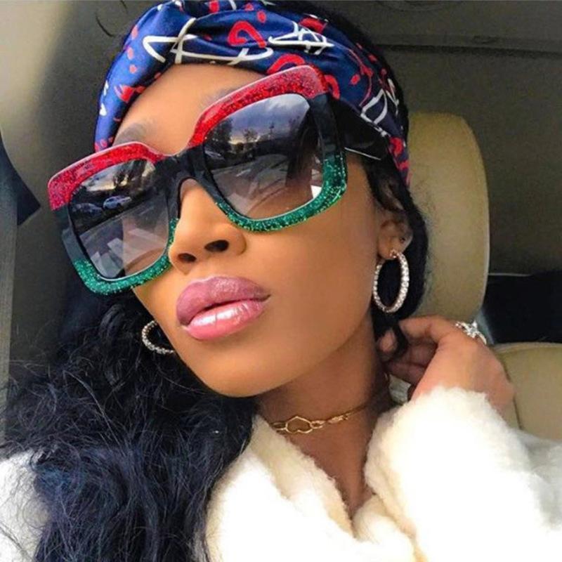 2020 Degrade Gözlük Büyük Güneş Gözlüğü Kare Tasarımcı Boy UV400 Vintage Çerçeve óculos Feminino Lens Kadınlar XBFNN