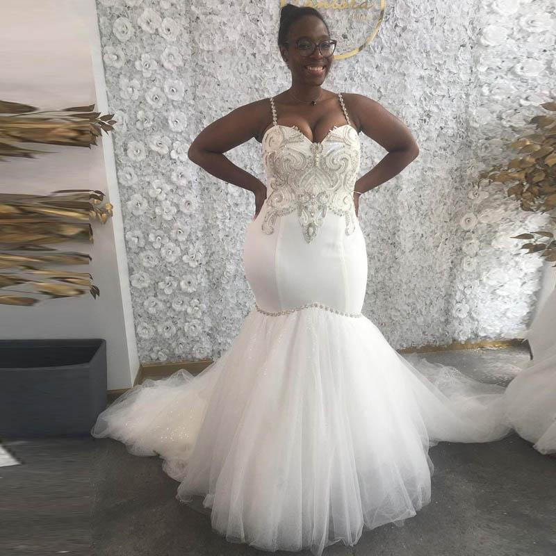 Plus Size Arabic Aso Ebi Simple Wedding Dresses Spaghetti Beaded Crystals Bridal Dresses Mermaid Sexy Wedding Gowns