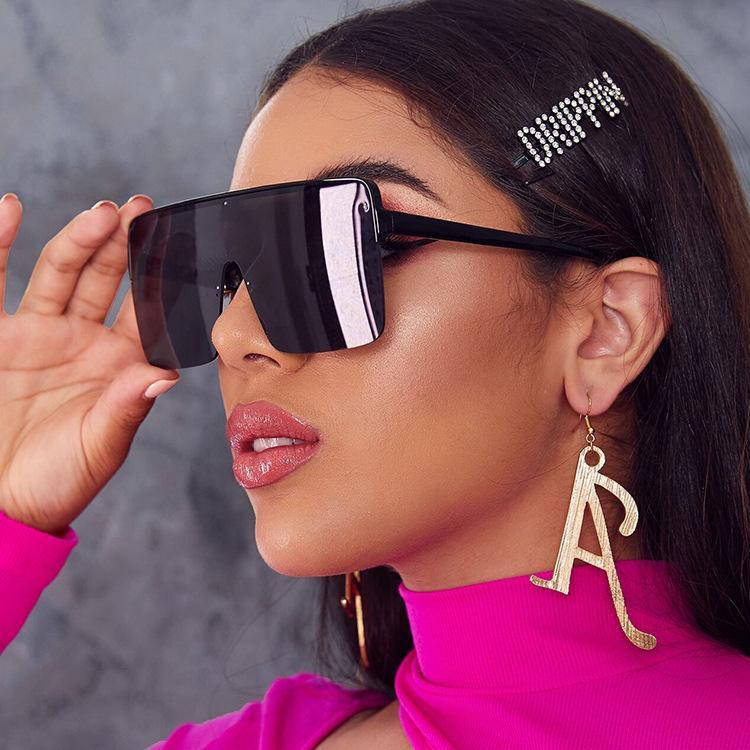 Moda büyük çerçeveli kare okyanus lens güneş gözlüğü metal çerçeve flaş ayna gölge erkekler ve kadınlar kaliteli 200803 güneş gözlüğü