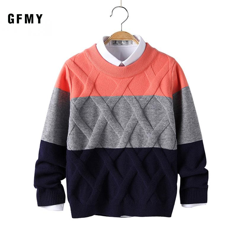 GFMY otoño invierno 2019 del O-Cuello de tres colores de cordones suéter para niños de 5-14 años de lana caliente de la capa para niños Jerseys