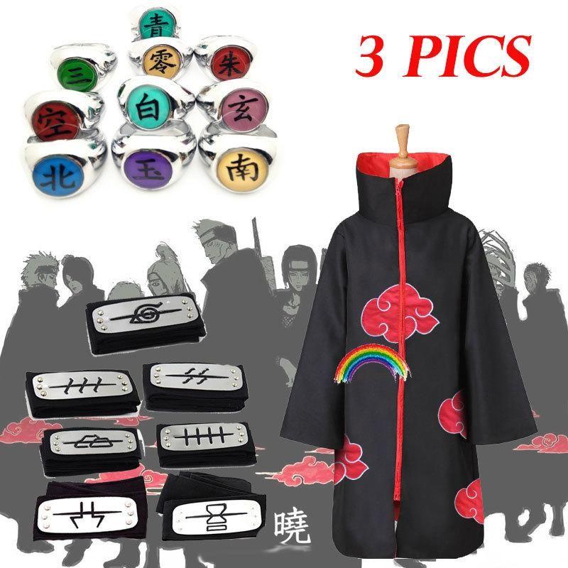 3 PICS Naruto Costume Akatsuki Cloak Cosplay Sasuke Uchiha Cape Cosplay Itachi Clothing costume Akatsuki ALL MEMBERS 11SETS