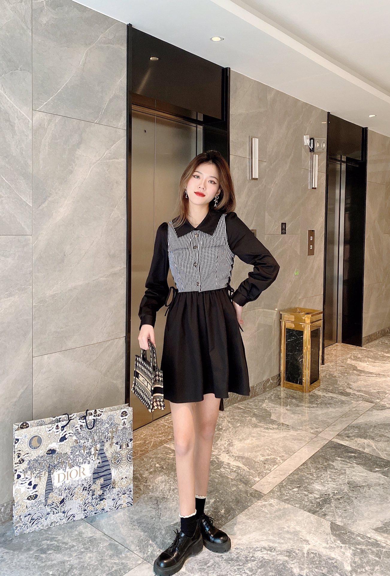 Milano pist elbiseler 2021 ilkbahar yaz yaka boyun baskı kadın tasarımcı elbise markası aynı stil elbise 0112-13