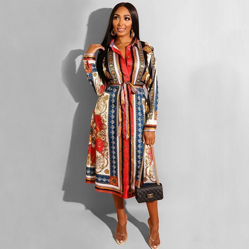 Line Spring Дамы поворотный воротник Распечатать линию Работа офиса длинное платье Повседневная подгонка и вспышка плиссированные платье Осенние женщины