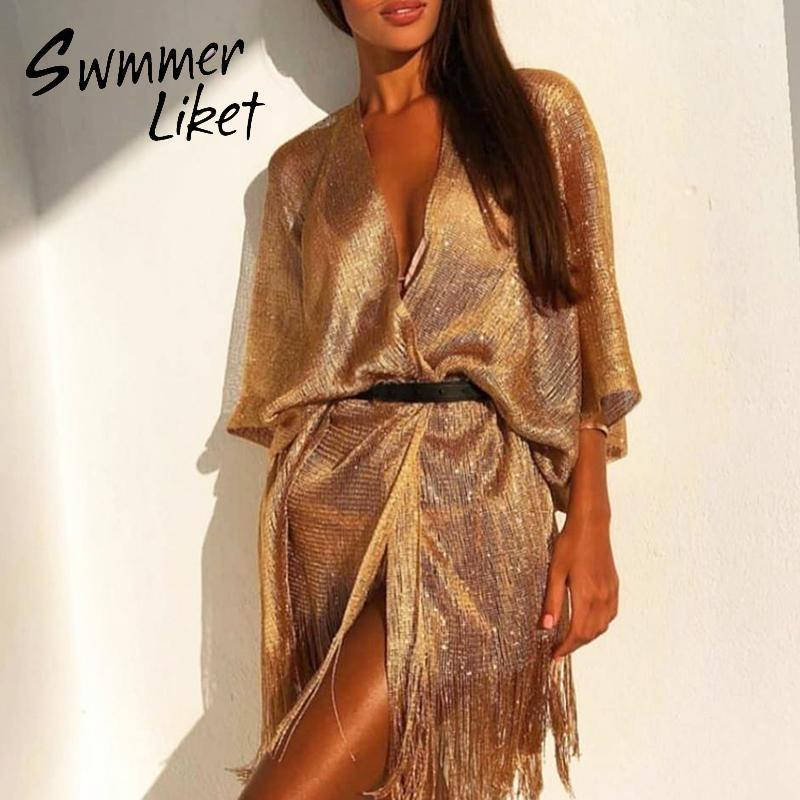 Vestido de playa con flecos bikini de oro 2020 gossamer kaftan vestido de playa mujeres sexy traje de baño cubiertas mujer traje de baño mujer kimono nuevo1