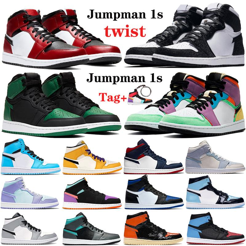Новый Высокий 1 1S Jumpman Мужские Баскетбольные Обувь Twist Средний Чикаго Королевский Той Ог Токио Нельзя Патент Тройные Белые Мужские Женские Спортивные кроссовки