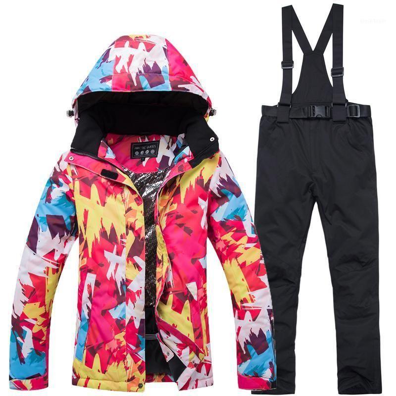 New Thick Warm Women Ski Suit Waterproof Windproof Skiing Snowboarding Jacket Pants Set Women Winter Snow Wear Suits1
