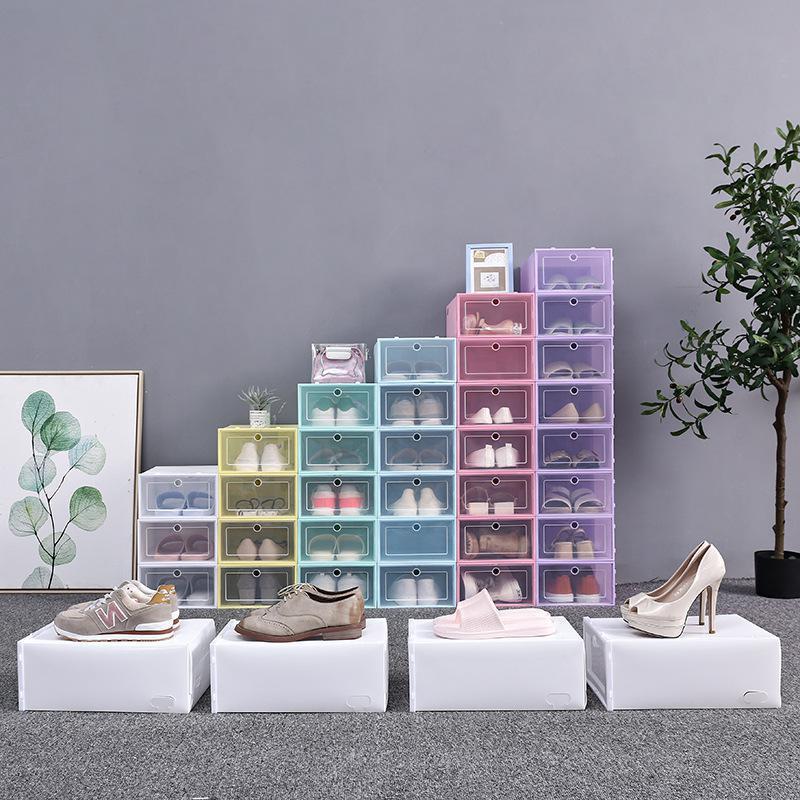 Espesar zapatos de plástico transparente caja de zapatos a prueba de polvo Caja de almacenamiento tirón zapato transparente del color del caramelo cajas apilables zapatos Organizador Caja NWA2363