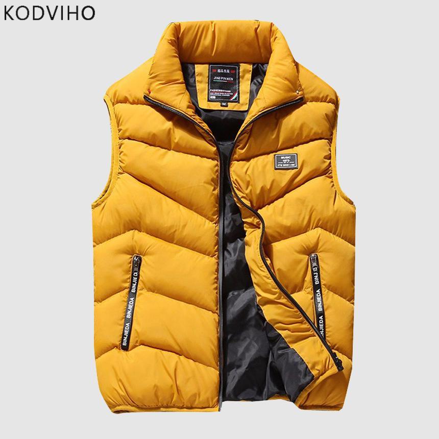 De plus grande taille Hommes Automne Vest d'hiver Solide Manteau de taille Sold Casual Sans manches Veste de Stand Collier Body Warmer Outwear 8XL 201126