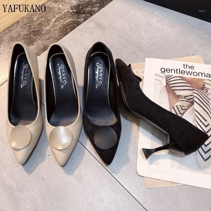 Printemps Femmes Pumps Sude classique Pointé Toe Sexy Dames Stiletto Fête Fête High Talons 7cm Noir Beige Shoes1