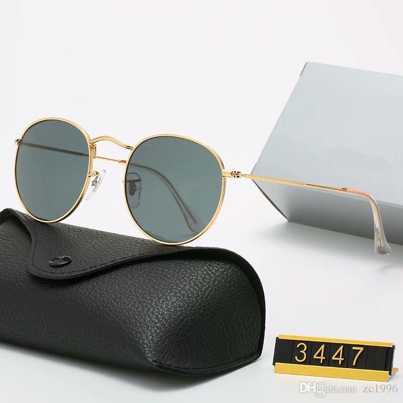 2021 Klasik Tasarım Marka Yuvarlak Güneş Gözlüğü UV400 Gözlük Metal Altın Çerçeve Gözlük Erkekler Kadınlar Ayna Cam Lens Sunglass Kutusu Ile