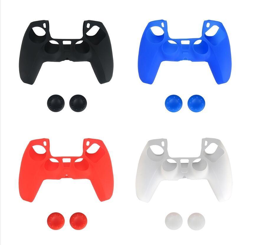 4 색 소프트 보호 커버 실리콘 케이스 플레이 스테이션 용 스킨 5 PS5 컨트롤러 게임 패드 프로텍터 미끄럼 방지 모자