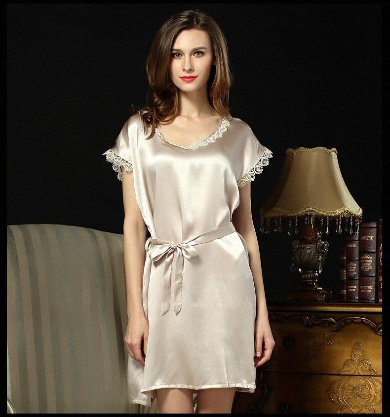 [SLKSCF] reale elegante seta Camicie da notte ricamo 100% raso di seta a pelo Gonna Donne sonno comodo abito Y200425 h09i #