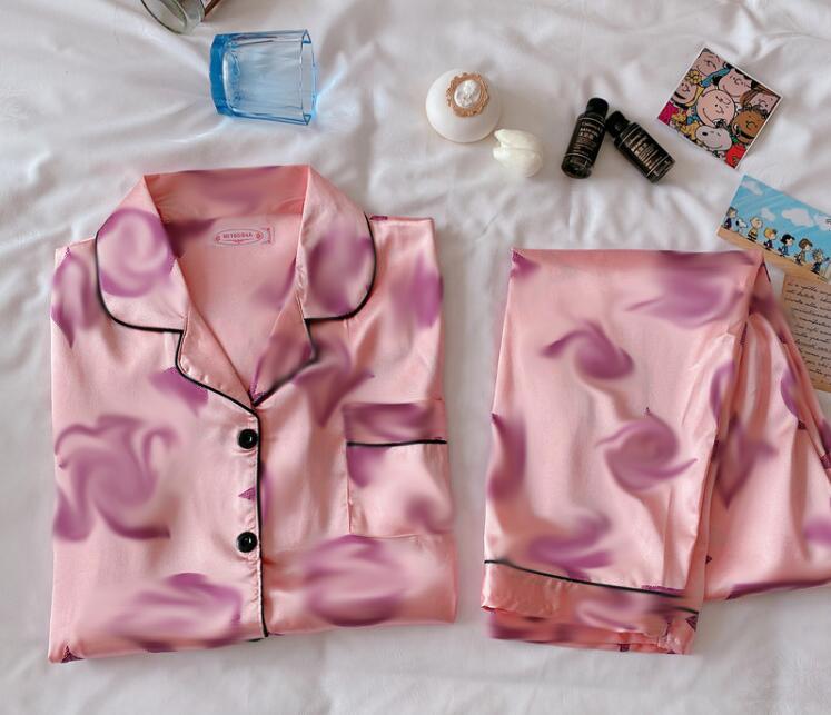 Nuovo Pigiama Lettera MS Designer Bath Robe Robe Womens Seta Ladies Satin Pajama Lingerie Sleepwear Abito da bagno Abito da bagno PJS Nightgown T-shirt + Pantaloni Vestito