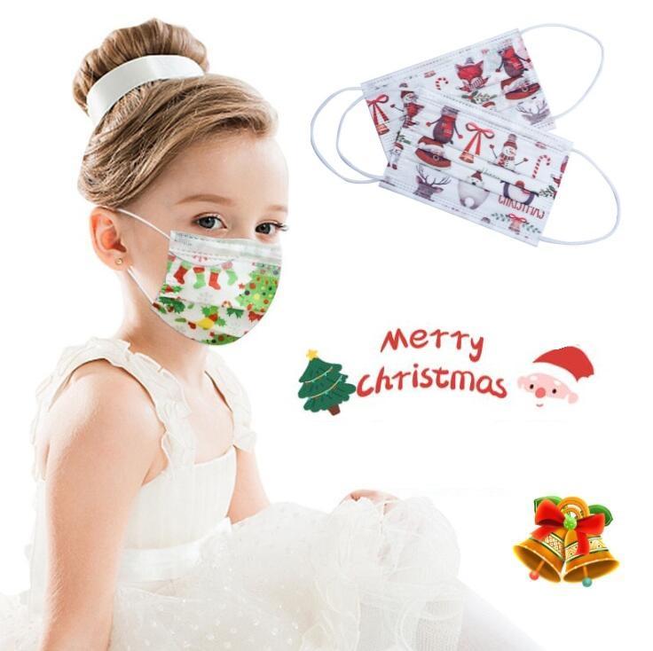 Navidad Imprimir desechable Mascarilla Diseñador del copo de nieve de dibujos animados de Santa Claus prueba de polvo adultos y cubrir la boca fiesta infantil de Navidad regalo de la decoración