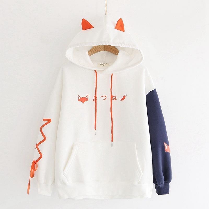 Thicken Doce Estilo moletom com capuz Mulheres Outono Inverno Fox Imprimir Hit Cor solto Hoodies Estudante Quente bonito velo vestuário 201007