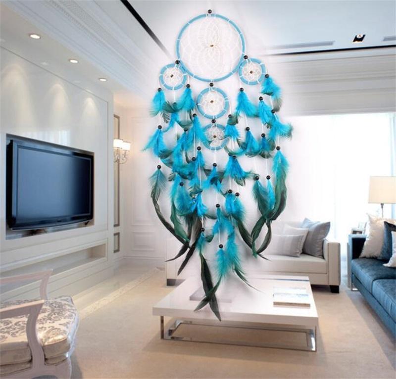 Handmade Dream Catcher Wind Chime Net Natural Pena Fazer Ornamento de Mobiliário Home Decorar Parede Azul Pendurado Delicado 11 5jy M2