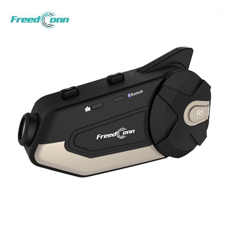FreedConn R1 1080 P HD WIFI R1 Motosiklet İnterkom Kask Bluetooth Kulaklık Interkom Video Yakalama Kaydedici Camera1