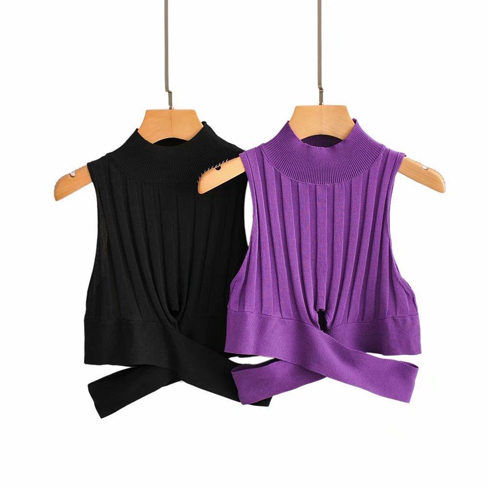 women 2 color hem irregular cross short vest thin sweater ladies basic knitted casual slim sweaters female autumn chic tops S111 201019