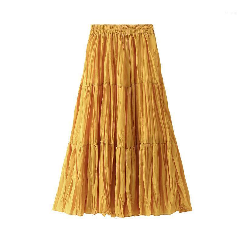 Faldas Falda femenina Falda suelta y de talla grande 2021 resorte de longitud media sólida faldas largas1