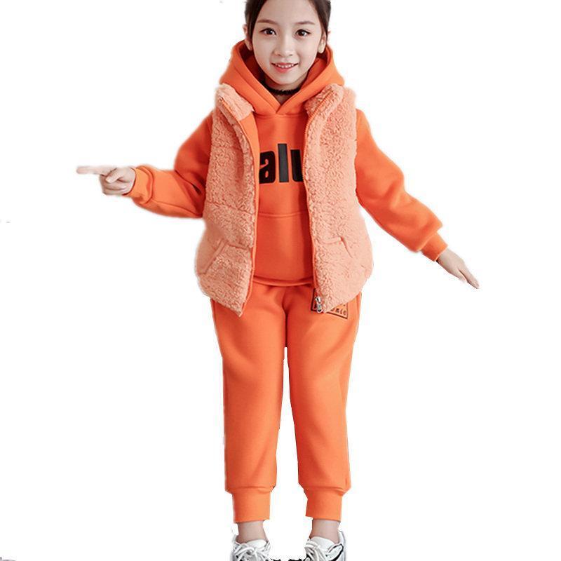 Giyim Setleri Kış Bebek Kız Set Çocuklar Kalınlaşmak Sıcak Pantolon Suit Çocuk Artı Kadife Eşofman Toddlers Kapşonlu Yelek 3 adet / takım 4-13Yrs