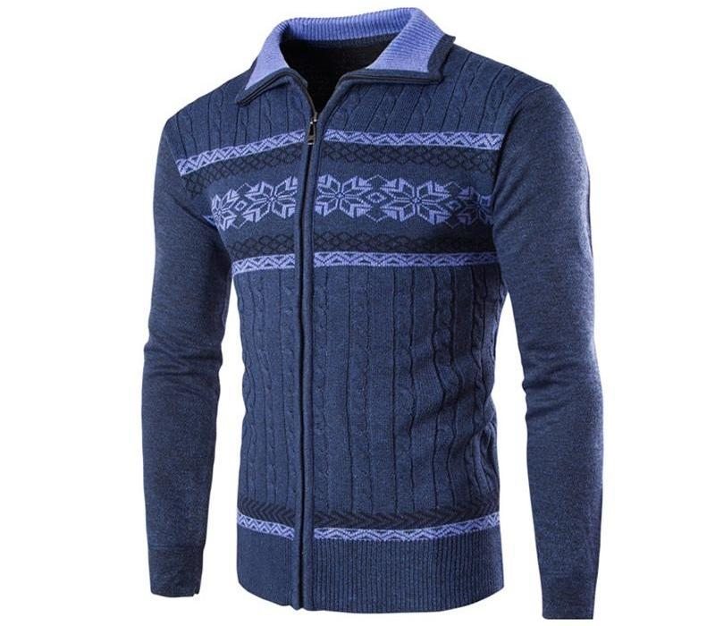 Cardigans Pulls fermeture à glissière hommes Winterspring Hauts col montant Hommes mince Maille Masculino Warm Gros Casual Sweater