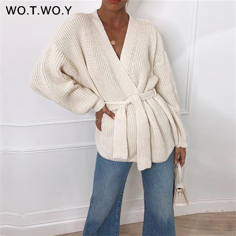 Wotwoy sexy v-pescoço de malha cardigan mulheres outono inverno manga comprida cortada quimono cardigans feminino sólido enorme enorme y200909