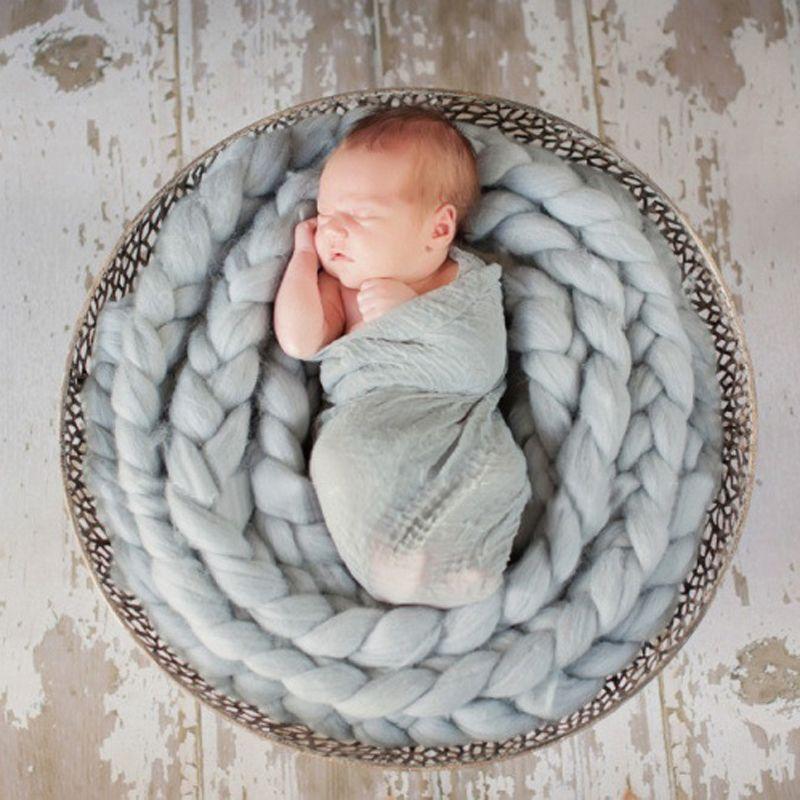 12 colores de lana recién nacido trenza Wrap elástico del abrigo del bebé de la bufanda de recién nacidos apoyos de la foto manta de fotografía apoya suaves del bebé de 1028