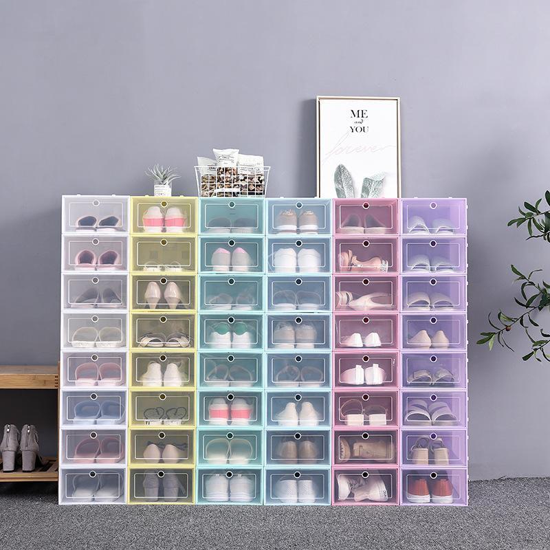 2021 두꺼운 명확한 플라스틱 신발 상자 방진 구두 보관 상자 플립 투명 구두 상자 사탕 컬러 스태킹 신발 주최자 상자