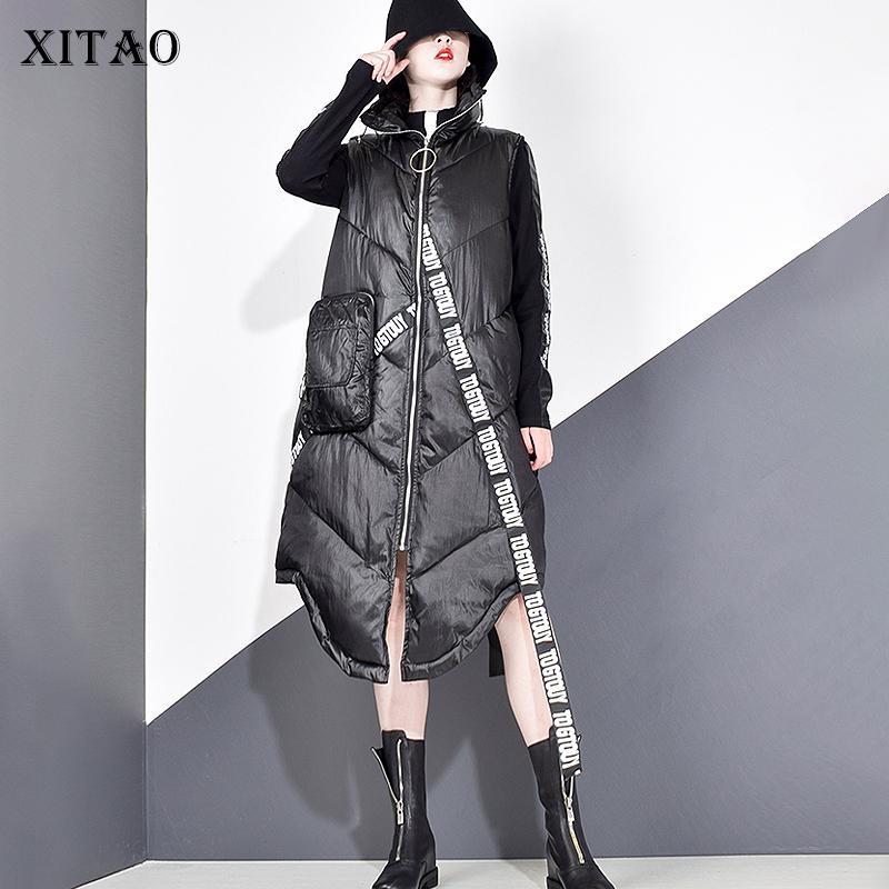 Xitao femmes noires manches poche en vrac Gilet sans manches Nouveau Mandarin Collar Casual Gilet Femme Manteau Solide Couleur ZLL2158 201009
