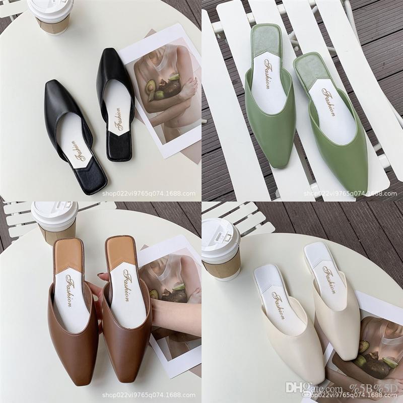 PI4D NOUVEAU Style Baotou moitié pantoufles Femmes Chaussures d'été Femme Femme Femmes Sandales Sandales Chaussures paresseuses Version coréenne Étudiants Étudiants Fond plat