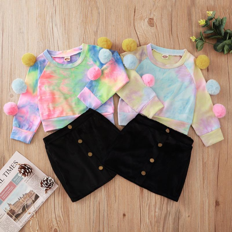 Vieeoease Girls Christmas Sets Baby Clothing 2020 Fall Winter tie-dyed Fashion Long Sleeve Ball T-shirt + Skirt 2pcs CC-778