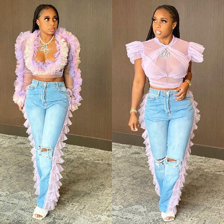 Getäfelten Damen-Jeans-dünner Gaze Jean-lange Hosen Mädchen mittlere Taillen-Art und Weise beiläufige Hosen Damen Kleidung