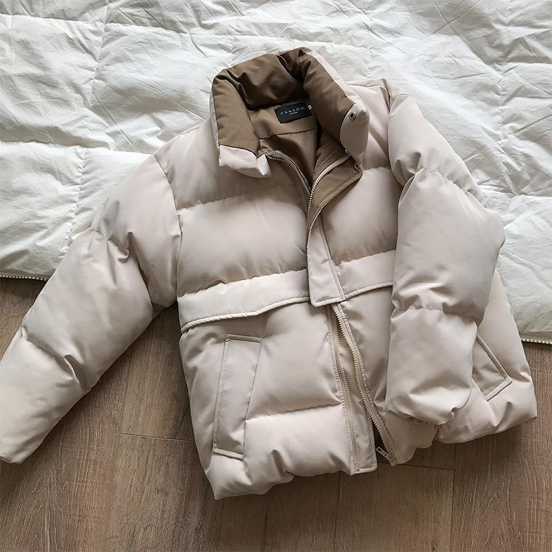Winter New Style Solid Cotton-Padded Jacket Women Oversize Bread Stand-Up Collar Thick Warm Causal Chic Coat Parka 2020 CRRIFLZ