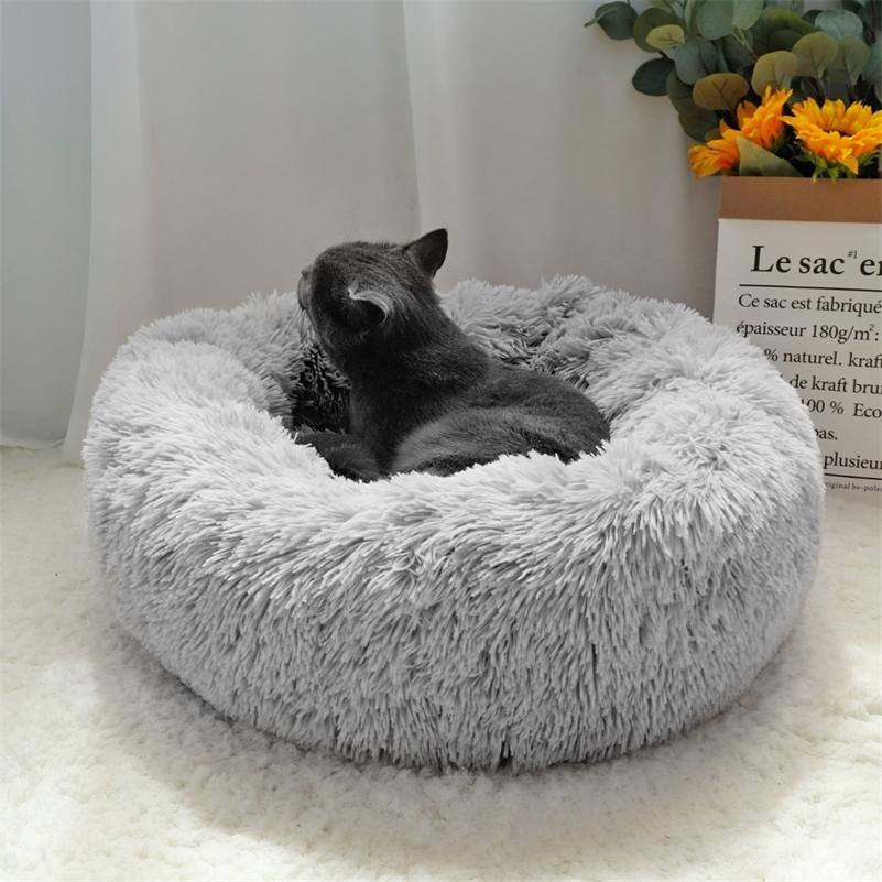 رقيق مهدئ الكلب سرير طويل أفخم دونات الحيوانات الأليفة هوندينماند جولة العظام المتسكع كيس النوم بيت الكلب القط جرو أريكة سرير البيت LJ200918