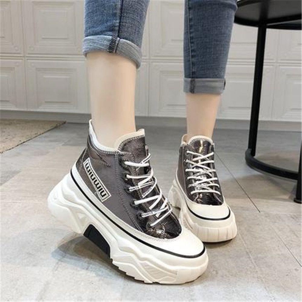 Bayan 2021 Yeni Büyüyen Boy Çizmeler Mujer Eğitmenler Tıknaz Ayakkabı Kadın Chaussures Sepetleri W1WD