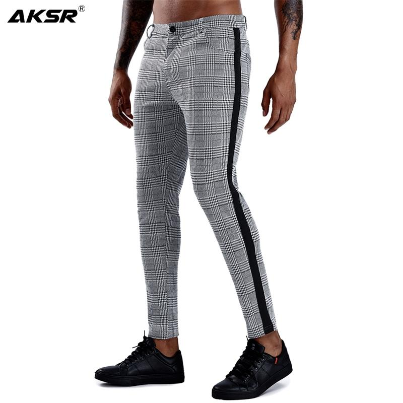Mens Chino Slim Fit uomo Skinny Chino Joggers Pantaloni Streetwear Super Stretch Pantaloni a matita per uomo Pantaloni Casual Stripe Plaid Stripe 201118