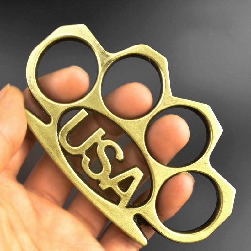 Металл США Пальца Тигровый Кулак застежка Четыре Пальца Самообороны Оружие Кольцо Ручной Зажим Легальная Оборона Костяная Кольцо CLAP HW93