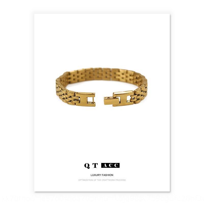 tempérament d'or de placage sous vide de rétention de couleur élevée ins modèle refroidissent le style bracelet en acier de titane bracelet bracelet bracelet strapmen et wo