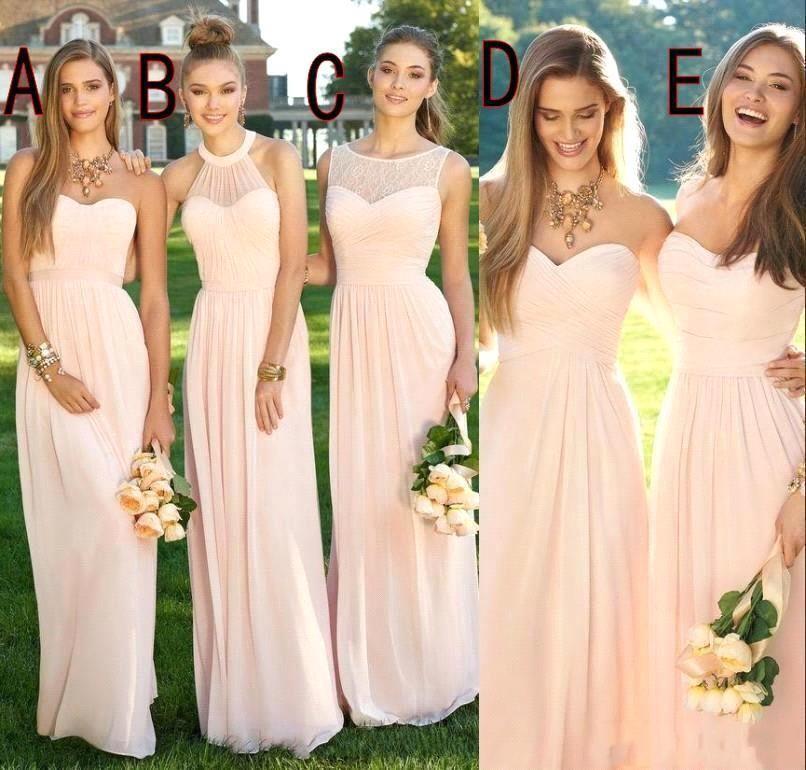 2021 Blush Pink Chiffon Bruidsmeisjes Jurken voor Lente Zomer Bruiloften Een lijn Backless Plooien Lange Maid of Honour Togs Gemengde stijlen