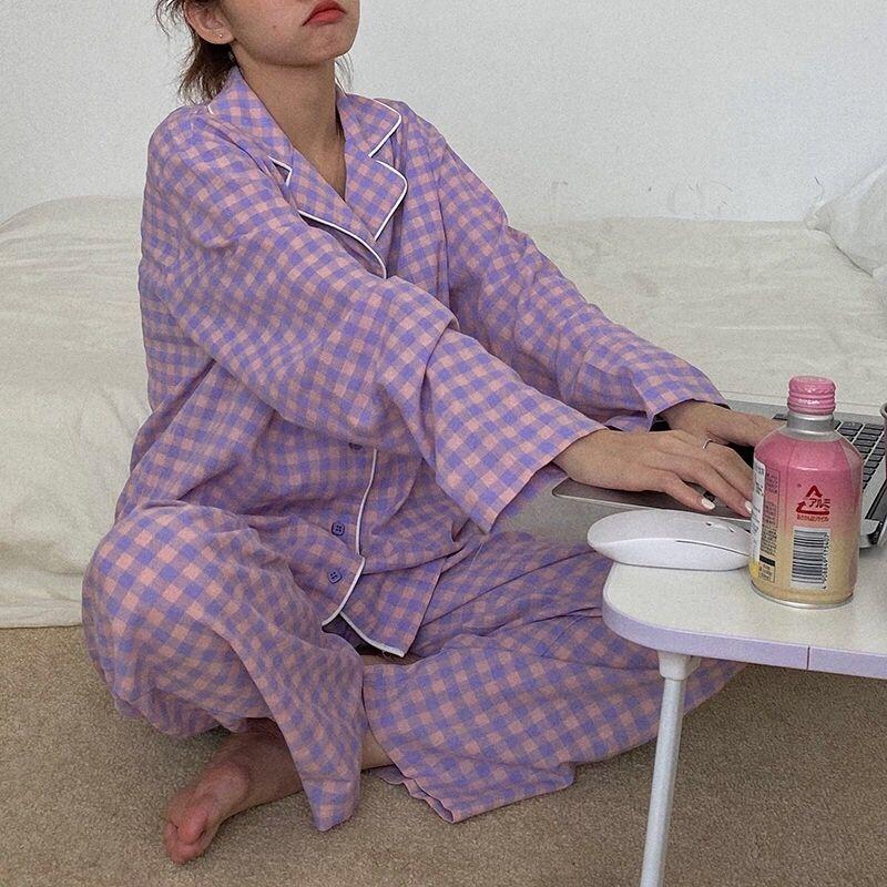 de4h Mavi Bahar Çift Pijama Erkekler Kadınlar Seksi Saten İpek Pijama Pantolon Çiçek Sonbahar Uzun kollu pijama Salonu Lovers ayarlar Baskılı SLE ayarlar